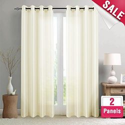 Vangao Faux Silk Window Curtains for Living Room 95 inches Long Light Reducing Dupioni Curtain P ...