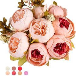Ogrmar Vintage Artificial Peony Silk Flowers Bouquet for Decoration (Light pink)