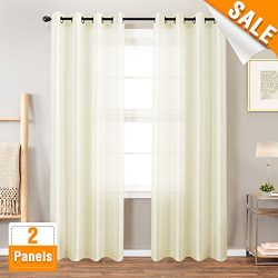 Lazzzy Drapery Faux Silk Curtains for Bedroom 84 inches Long Grommet Top Dupioni Light Reducing  ...