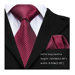 Dubulle Extra Long Tie 160CM Red Necktie Pocket Square Set Silk Ties for Men Width 8.5cm