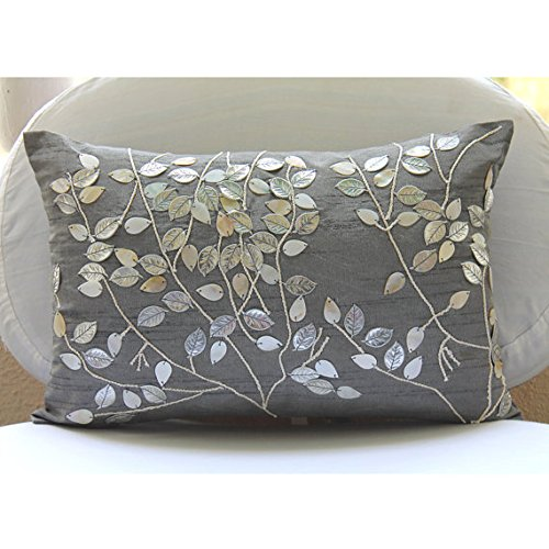 Silver Lumbar Pillow Cover, Mother Of Pearls Leaf Tropical Theme Pillows Cover, 12″x16&#82 ...