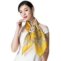 "Silk Scarf Women, 100% Silk Pure Mulberry for Women Square Wrap 35""x35"" (yellow4)"