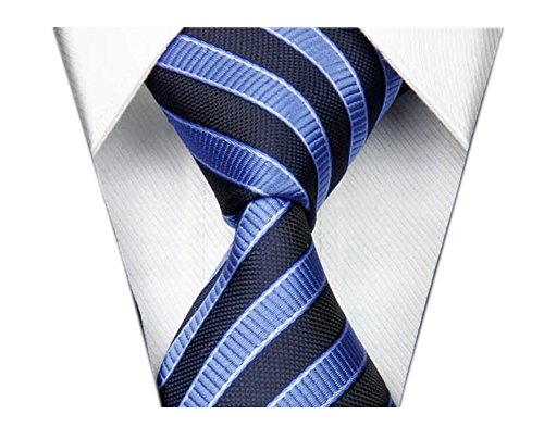 Secdtie Men's Striped Navy Blue Jacquard Woven Silk Tie Formal Necktie TW02