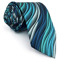 Shlax&Wing Mens Ties Ripple Blue Multicolored Silk Green 63″ Extra Long Silk