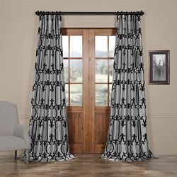 Half Price Drapes Ptfflk-C32G-108 Royal Gate Flocked Faux Silk Curtain, 50 x 108, Silver and Black