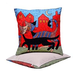 BluSpirits Silk Square Cushion Cases Hand embroidered various designs Pillow Cover (18′ x  ...