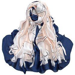 Women's Silk Scarf Large Satin Headscarf Fashion Cat Pattern Hair Scarves Shawl