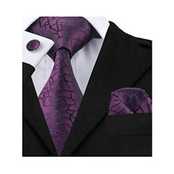 Barry.Wang Solid Purple Tie Hanky Cufflinks Set Novelty Ties Silk