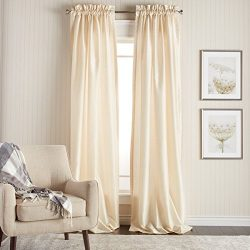 2 Piece 84 Inch Ivory Faux Silk Curtains Panel Pair Set, Off-white Solid Color Window Rod Pocket ...