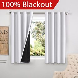 FlamingoP Full Blackout White Curtains Faux Silk Satin with Black Liner Thermal Insulated Window ...