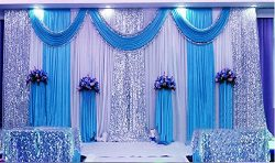 Three Fold Blue Wedding Stage backdrop party drapes with swag silk fabric curtain#021114