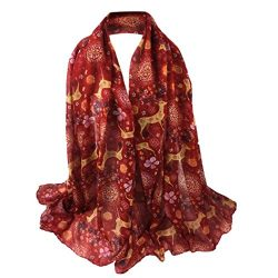 Sumen 2018 New Red Poppy Printing Long Scarf Flower Beach Wrap (2018 New-Red)