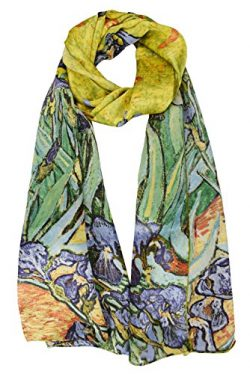 ELEGNA Women 100% Silk Art Collection Scarves (Van Gogh's Irises)
