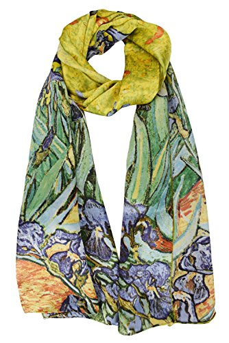 ELEGNA Women 100% Silk Art Collection Scarves (Van Gogh's Irises)