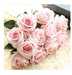 Crt Gucy Artificial Flowers Long Stem Silk Rose Flower Bouquet Wedding Party Home Decor, Pack of ...