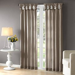 Contemporary Faux Silk Ruched Tab Lined Curtains Panels Drapes Set 84″ Length Pewter