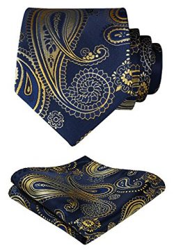 HISDERN Paisley Tie Handkerchief Woven Classic Men's Necktie & Pocket Square Set (Gold ...
