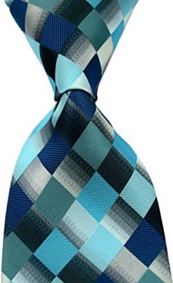 Scott Alone : New Classic Checks Jacquard Woven Silk Men's Tie Necktie (Turquoise/Grey)