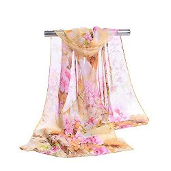 ChikaMika Floral Scarves for Women Lightweight Wrap and Shawls Girls Fashion Chiffon Scarves (li ...