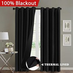 Full Blackout Thermal Insulated Curtains for Bedroom, Faux Silk with Fabric Liner Home Fashion C ...