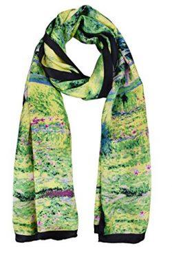 ELEGNA Women 100% Silk Art Collection Scarves (Claude Monet's Bridge)