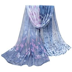 Scarf,Han Shi Women Vintage Printed Silk Soft Shawl Wrap Long Chiffon Voile Scarves (L, Dark Gray)