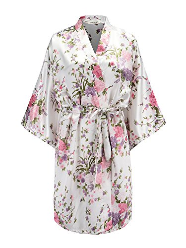 EPLAZA Women Floral Satin Robe Bridal Dressing Gown Wedding Bride ...