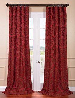 Half Price Drapes JQCH-201268-96 Astoria Faux Silk Jacquard Curtain, Red & Bronze, 50 x 96