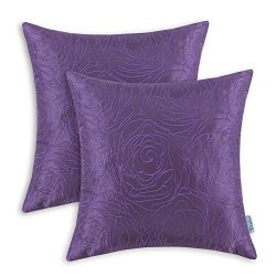 CaliTime Pack of 2 Cushion Covers Throw Pillow Cases Shells for Home Sofa Couch, Roses Floral Em ...