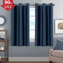 Navy Faux Silk Curtains 63 inches Long Satin Curtain Panels for Bedroom Light Filtering Privacy  ...