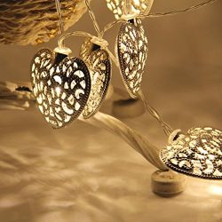 Ec Retro,Elegant Light Design,Fairy String Light Metal Heart Shaped Hollow Curtain Lamp Party We ...