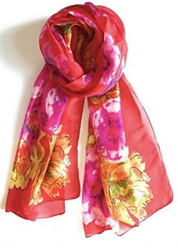 Z&HTrends Womens Genuine Silk Scarf (Small, Coral Fields)