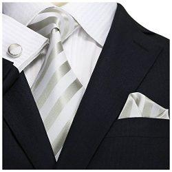 Landisun Stripes Mens Silk Tie Set: Necktie+Hanky+Cufflinks 27A Silver White, 3.75″Wx59 ...