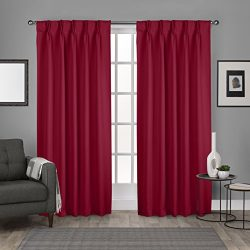 Exclusive Home Curtains Sateen Pinch Pleat Woven Blackout Back Tab Window Curtain Panel Pair, Ch ...