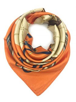YOUR SMILE Orange Chain Silk Like Scarf Women's Fashion Pattern Large Square Satin Headsca ...