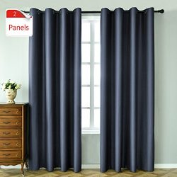 KEQIAOSUOCAI 2 Panels Dusty Blue Blackout Curtains 84 inches long for bedroom-Window Treatment T ...