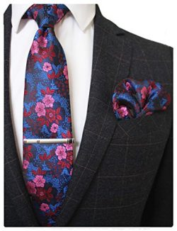 JEMYGINS Silk Blue Red Floral Necktie and Pocket Square, Hankerchief and Tie Bar Clip Sets for M ...