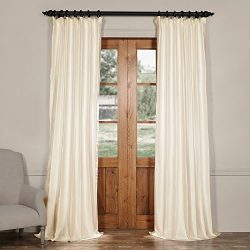 Half Price Drapes CTSK-161001-96 Cotton Silk Curtain, 50 X 96, Blanc White
