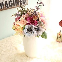 Artificial Flowers, Fake Flowers Silk Plastic Artificial Gerbera Rose Bridal Wedding Bouquet for ...