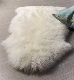 Super Area Rugs, Genuine Australian Sheepskin Rug One Pelt Natural Fur, Single 2X3