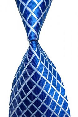 Wehug Men's Classic Tie Silk Woven Blue Plaid Necktie Jacquard Neck Ties For Men LD0046