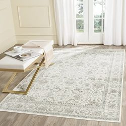 Safavieh Persian Garden Collection PEG607E Traditional Ivory and Silver Viscose Area Rug (5&#821 ...