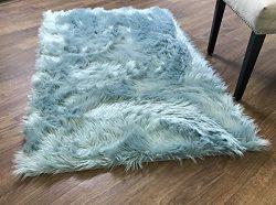Serene Super Soft Faux Sheepskin Shag Silky Rug Baby Nursery Childrens Room Rug Teal, 5′ x ...