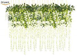 43.2″ Artificial Silk Wisteria Vine Ratta Silk Hanging Flower Wedding Decor,24 Pieces,(White)