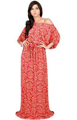 KOH KOH Plus Size Women Long Sexy One Off Shoulder Flowy Summer Bohemian Boho Print Floral Casua ...