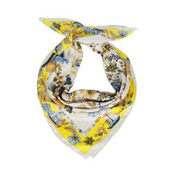 "Silk Scarf Women, 100% Silk Pure Mulberry for Women Square Wrap 35""x35"" (yellow-green)"