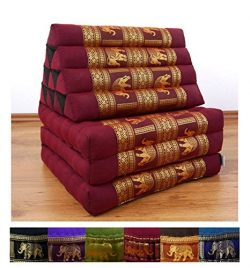 3 Fold Thai Cushion, 67x20x3 inches (LxWxH), Silk Look, 100 % Natural Kapok Filling, Foldable Th ...