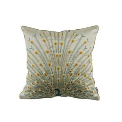 Thanksliving 1 Pc Peacock Embroidery Decorative Pillowcase Cushion Cover Throw Pillow Cover, Pea ...