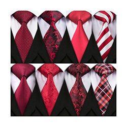 Barry.Wang Men's Ties Paisley Red Solid Neckties Set Floral Silk Tie Stripe 8 Pack