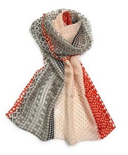 Z&HTrends Womens Genuine Silk Scarf (Small, Dots Dots Orange Navy Grey)